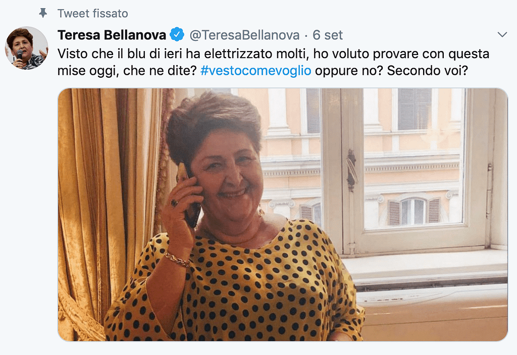 politica, moda social bellanova